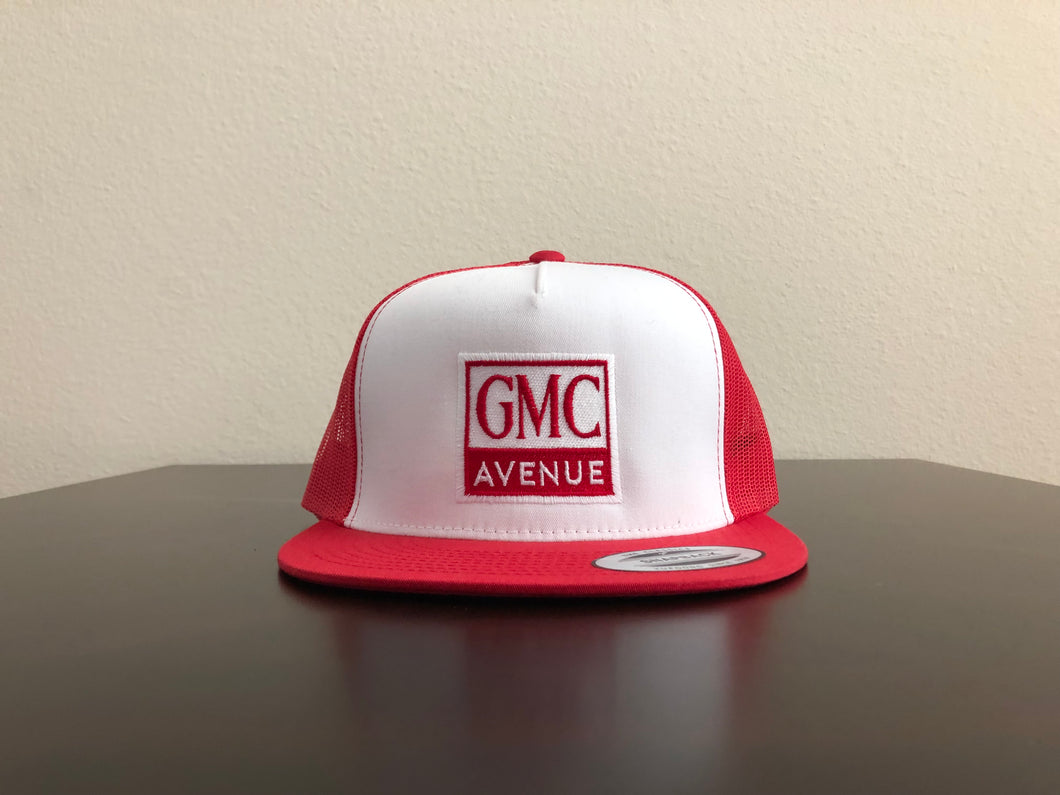 GMC AVE LOGO RED HAT WHITE PANEL RED STITCHING