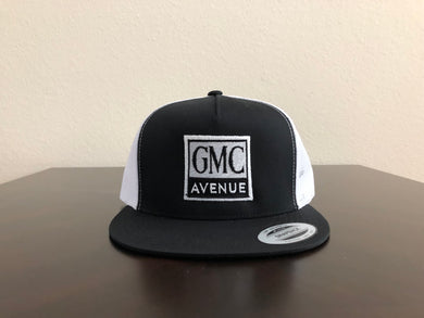 GMC AVE LOGO BLACK HAT WHITE PANEL BLACK STITCHING