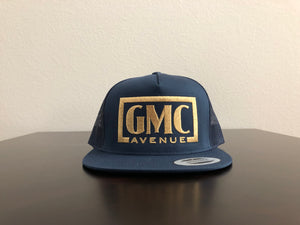 GMC AVE STAMP LOGO NAVY HAT GOLD STITCHING