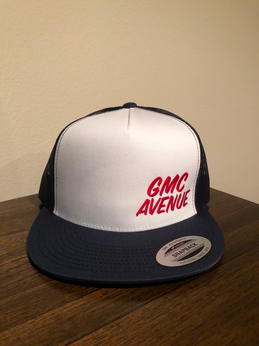GMC AVE SPEEDSTER NAVY HAT WITH WHITE PANEL RED STITCHING