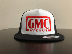 GMC AVE STAMP LOGO BLACK HAT WHITE PANEL RED STITCHING