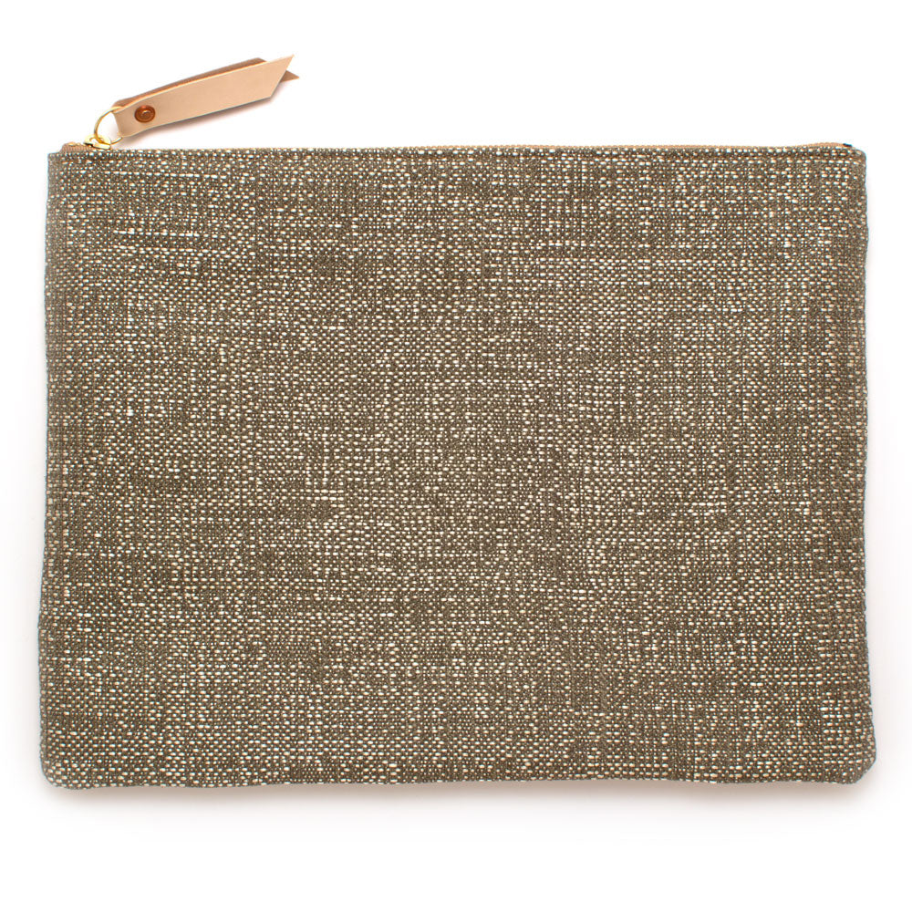 Hammered Silver & Natural Clutch/Laptop Sleeve - Knickers & Whiskey