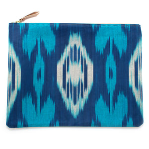 Vintage Cerulean Ikat Clutch/Laptop Sleeve