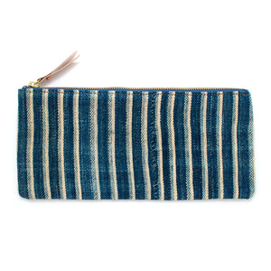 1960s Indigo Stripe Mudcloth Envelope Pouch - Knickers & Whiskey