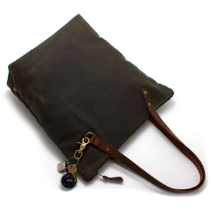 Army Green Waxed Canvas Portfolio Tote - Knickers & Whiskey