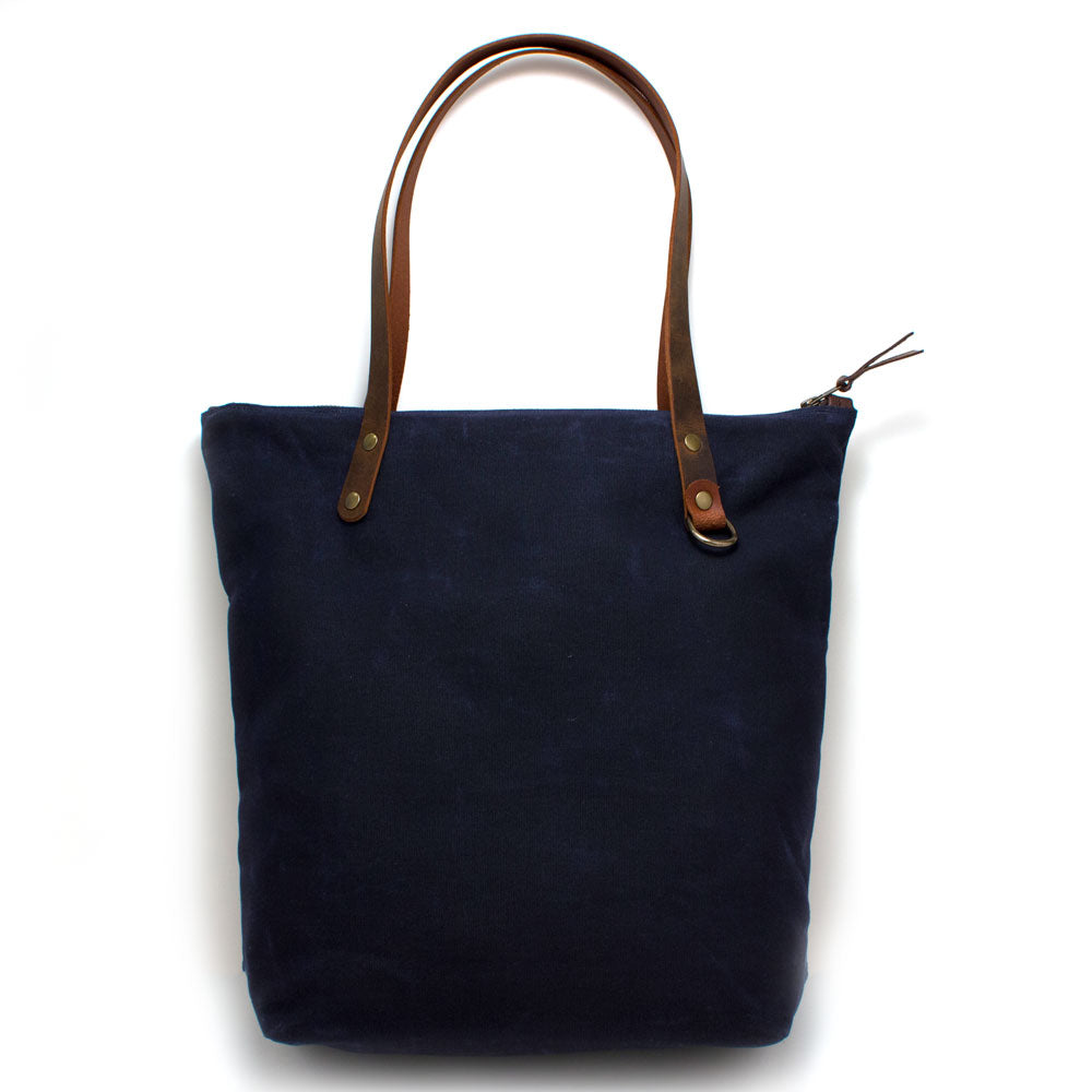 Navy Waxed Canvas Portfolio Tote - Knickers & Whiskey