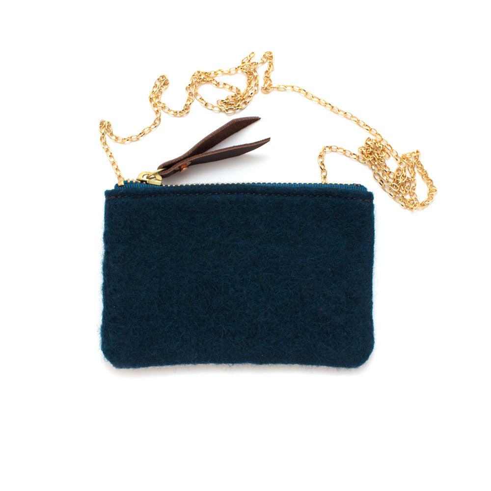 Imperial Peacock Wool Pouch Pendant