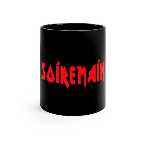 SOÍREMAÍN - BLACK MUG (RED LOGO)