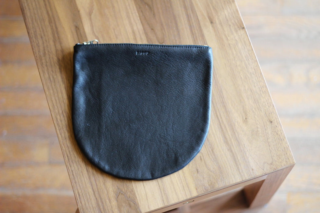 Black Leather U Pouch