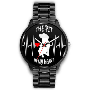 PIT OF MY HEART - BLK - LUXURY WATCH GENUINE LEATHER/STAINLESS STEEL DELUXE BAND - Save Adopt Love Apparel