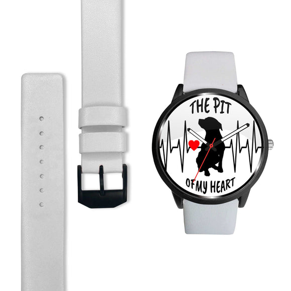 PIT OF MY HEART - WH - LUXURY WATCH GENUINE LEATHER/STAINLESS STEEL DELUXE BAND - Save Adopt Love Apparel
