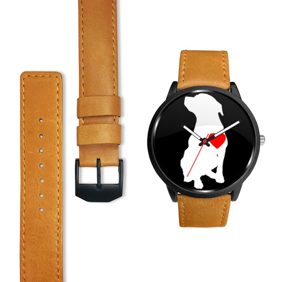 PIT BULL LOVE - BLK - LUXURY WATCH GENUINE LEATHER/STAINLESS STEEL DELUXE BAND - Save Adopt Love Apparel