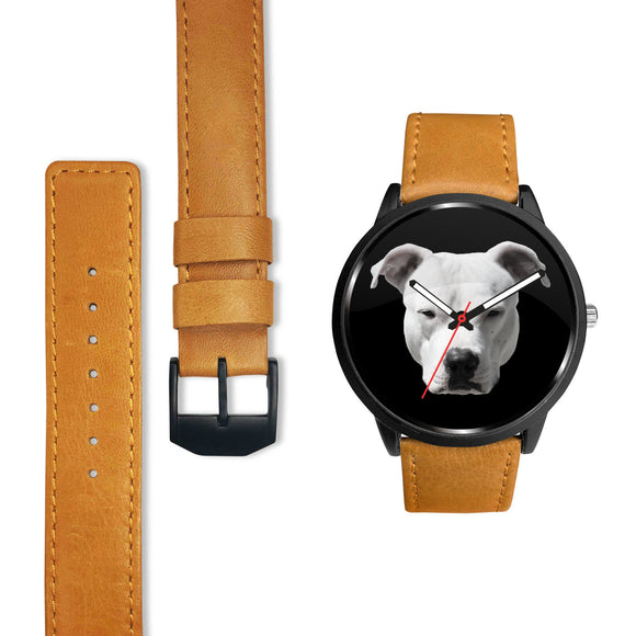 PIT BULL FACE - BLK - LUXURY WATCH GENUINE LEATHER/STAINLESS STEEL DELUXE BAND - Save Adopt Love Apparel