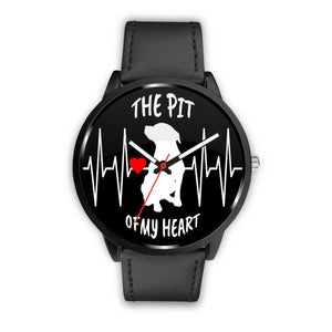 THE PIT OF MY HEART - BLK - LUXURY WATCH GENUINE BLACK LEATHER DELUXE BAND (only) - Save Adopt Love Apparel