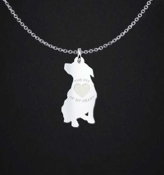 Exclusive Premium Genuine Solid Sterling Silver Pit Bull Necklace - Save Adopt Love Apparel