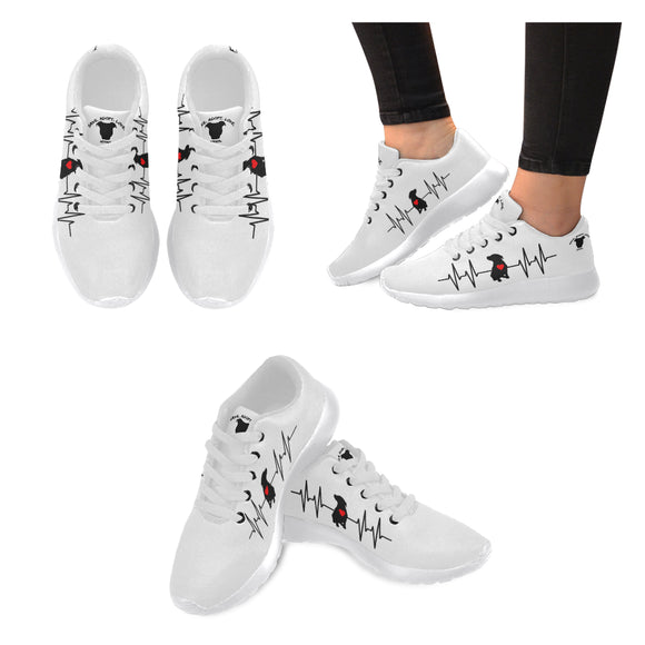 Women's Premium Pit Bull Heartbeat Sneakers Shoes - Save Adopt Love Apparel