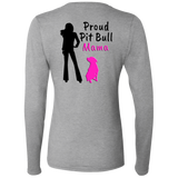 PROUD PIT BULL MAMA - Black/Pink - Back Art - Premium Preshrunk Softstyle Ladies Pit Bull Long Sleeve T-Shirt - Save Adopt Love Apparel