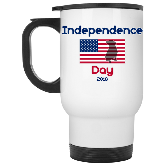 Independence Day 2018 14oz Pit Bull White Travel Mug - Save Adopt Love Apparel