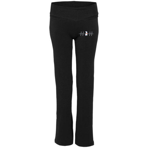 PIT BULL HEARTBEAT - Premium Embroidered Ladies' Pit Bull Yoga Pants - Save Adopt Love Apparel