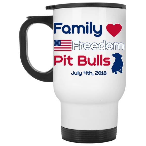 Family Freedom Pit Bulls White Travel Mug - Save Adopt Love Apparel