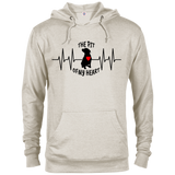 THE PIT OF MY HEART - Black/Red - Premium Preshrunk Fleece French Terry Blend Pit Bull Hoodie - Save Adopt Love Apparel