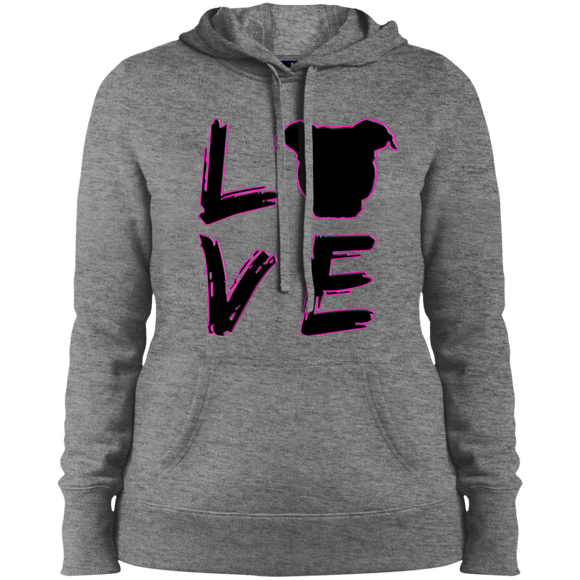 LOVE - Black/Pink - Ladies Pit Bull Pullover Sweatshirt Hoodie - Save Adopt Love Apparel