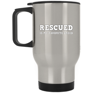 RESCUED IS MY FAVORITE BREED - White/Steel/White - 14oz. Stainless Steel Travel Mug - Save Adopt Love Apparel