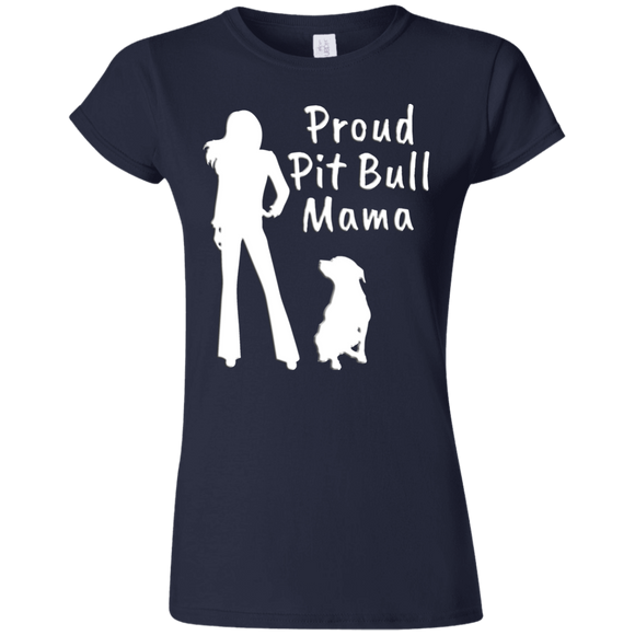 PROUD PIT BULL MAMA - White - Premium Softstyle Ladies Pit Bull T-Shirt - Save Adopt Love Apparel