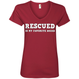 RESCUED - White - Ladies' Pit Bull V-Neck T-Shirt - Save Adopt Love Apparel