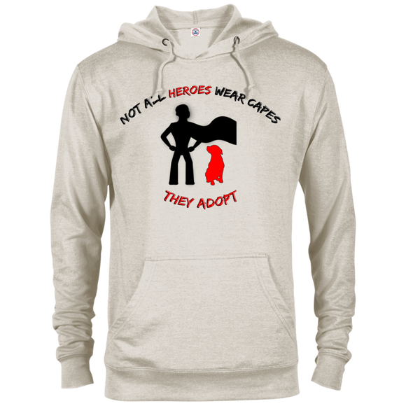 HEROES ADOPT - Black/Red - Premium Preshrunk French Terry Blend Fleece Pit Bull Hoodie - Save Adopt Love Apparel