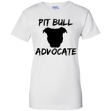 PIT BULL ADVOCATE - Solid Black - Ladies Pit Bull T-Shirt - Save Adopt Love Apparel