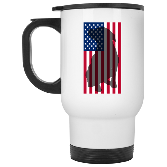 American Flag 14oz White Pit Bull Travel Mug - Save Adopt Love Apparel