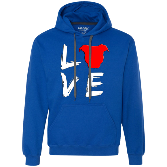 LOVE - White/Red - Pit Bull Heavyweight Pullover Sweatshirt Hoodie - Save Adopt Love Apparel