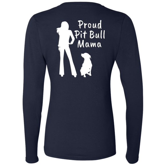 PROUD PIT BULL MAMA - White - Back Art - Premium Preshrunk Softstyle Ladies Pit Bull Long Sleeve T-Shirt - Save Adopt Love Apparel