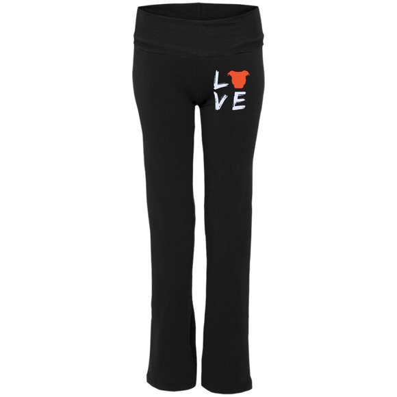 LOVE - Premium Embroidered Ladies' Pit Bull Yoga Pants - Save Adopt Love Apparel