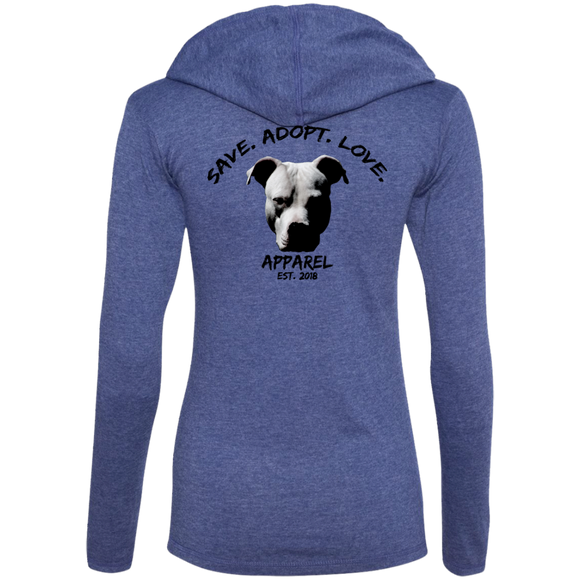 SAVE. ADOPT. LOVE. APPAREL - Black - Back Head shot Art - Premium Ladies Pit Bull Hoodie - Save Adopt Love Apparel