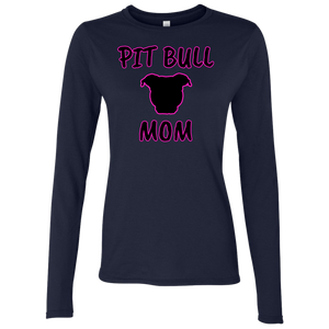 PIT BULL MOM - Black/Pink - Premium Preshrunk Softstyle Ladies Pit Bull Long Sleeve T-Shirt - Save Adopt Love Apparel