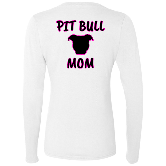 PIT BULL MOM - Black/Pink - Back Art - Premium Preshrunk Softstyle Ladies Pit Bull Long Sleeve T-Shirt - Save Adopt Love Apparel