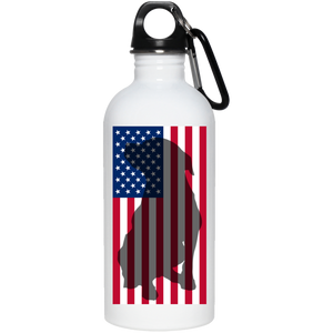 American Flag 20 oz. Stainless Steel Pit Bull Water Bottle - Save Adopt Love Apparel