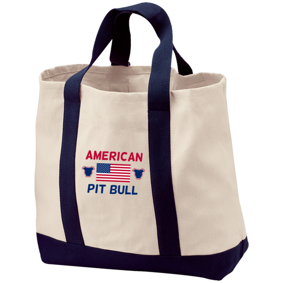 American Pit Bull Embroidered Port & Co. 2-Tone Shopping Tote - Save Adopt Love Apparel