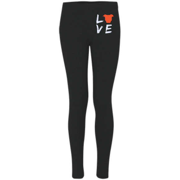 LOVE - Premium Embroidered Women's Pit Bull Leggings - Save Adopt Love Apparel