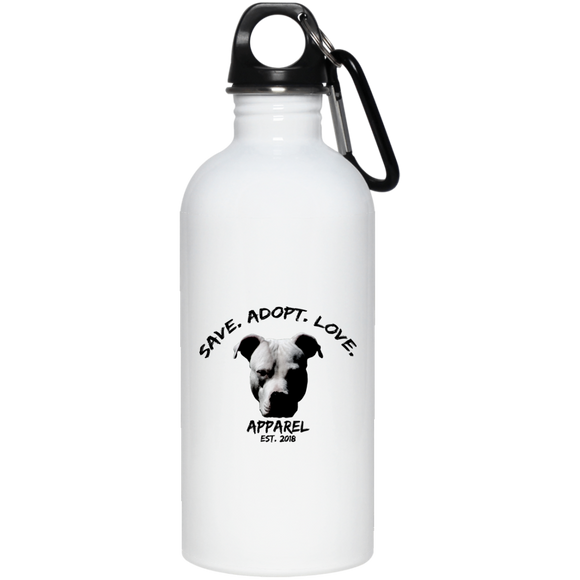 SAVE. ADOPT. LOVE. - White - 20 oz. Eco-Friendly Stainless Steel Pit Bull Water Bottle - Save Adopt Love Apparel