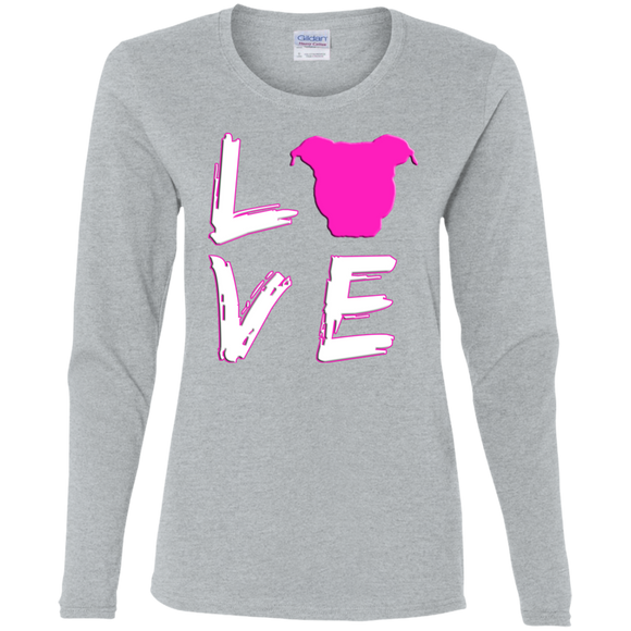 LOVE - Pink/White - Premium Preshrunk Ladies Pit Bull Long Sleeve T-Shirt - Save Adopt Love Apparel