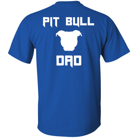 PIT BULL DAD - White/BACK ART - Men's Pit Bull T-Shirt - Save Adopt Love Apparel