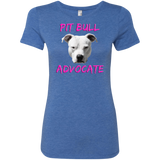 PIT BULL ADVOCATE - Pink - Pit Bull Ladies Tri-blend T-Shirt - Save Adopt Love Apparel