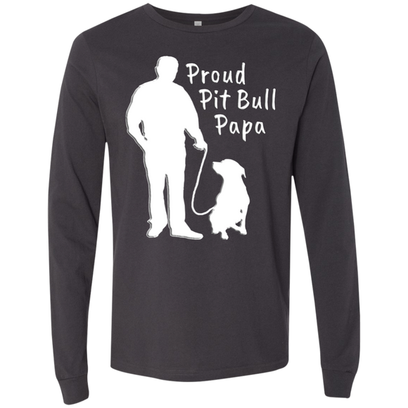 PROUD PIT BULL PAPA - Solid White - Premium Bella + Canvas Men's Pit Bull Long Sleeve T-Shirt - Save Adopt Love Apparel