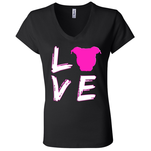 LOVE - Pink/White - Bella + Canvas Premium Pit Bull Ladies V-Neck T-Shirt - Save Adopt Love Apparel