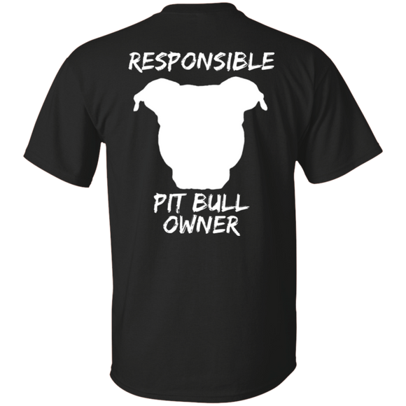 RESPONSIBLE PIT BULL OWNER  - Back Art - White - Unisex Pit Bull T-Shirt - Save Adopt Love Apparel