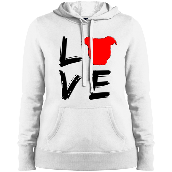LOVE - Black/Red - Ladies Pit Bull Pullover Sweatshirt Hoodie - Save Adopt Love Apparel