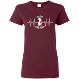 THE PIT OF MY HEART - White/Red - Premium Ladies Pit Bull T-Shirt - Save Adopt Love Apparel
